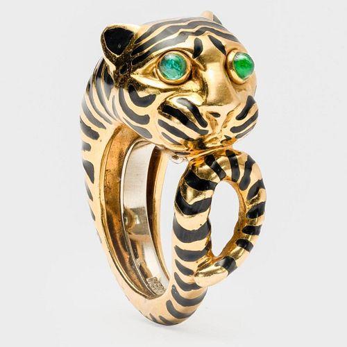 David Webb Tiger Ring With Emerald Eyes