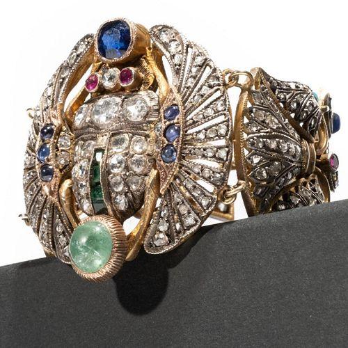 Bracelet, Early 20th century Egyptian Revival Diamond and gem-set Scarab Bracelet