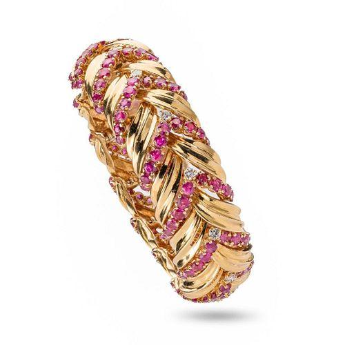 Tiffany & Co Vintage Ruby, Diamond and 18K Gold Bracelet