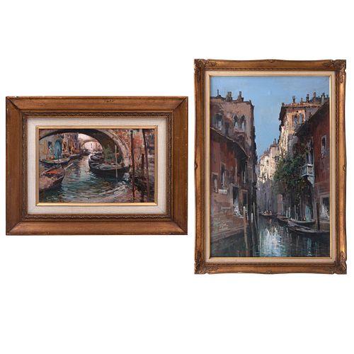 CLAUDIO SIMONETTI. 2 Vistas venecianas. Firmados. Óleos sobre tela. Enmarcados. 90 x 60 y 20 x 30 cm. Piezas: 2