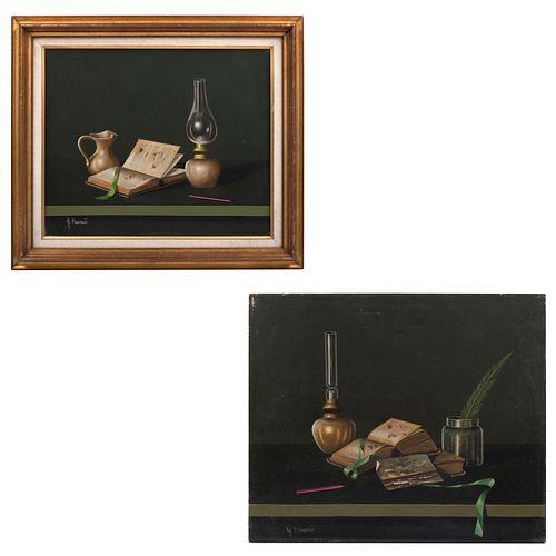 G. RAUCATI. 2 Bodegones. Firmados. Óleos sobre tela. Uno enmarcado. 50 x 60 cm (mayor).