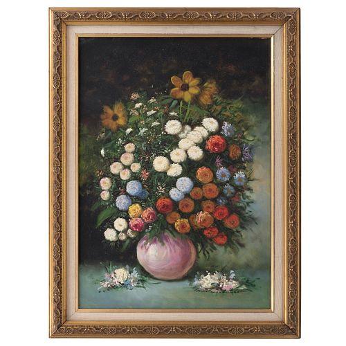 COLOMBO. Naturaleza muerta con flores. Firmado. Óleo sobre tela. Enmarcado. 70 x 50 cm.