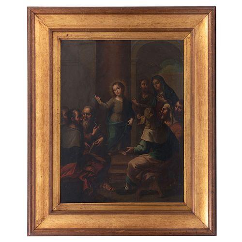ATRIBUIDO A JOSÉ DE PÁEZ. Jesús entre los doctores. Firmado. Óleo sobre lámina de cobre. Enmarcado. 62 x 47 cm.