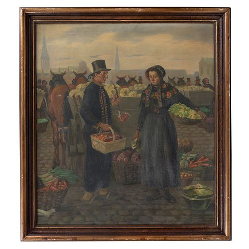 ALBERT PETERSEN. Vendedores de frutas. Firmado. Óleo sobre tela. Con etiqueta de Bonhams. Enmarcado.