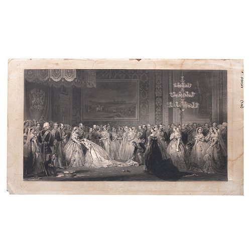 JERRY BARRETT. A Drawing Room at St. James's Palace in the Reign of Queen Victoria. 1864. Grabado. Sin enmarcar. 58.5 x 107 cm.