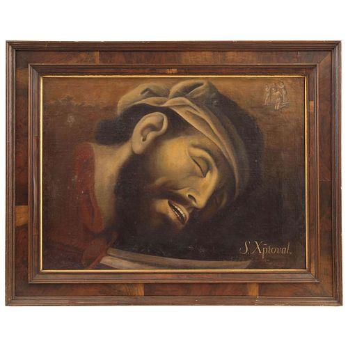 ANDRÉS LÓPEZ. Martirio de San Cristobal. Firmado: Andres Lopez Fecit. Óleo sobre tela. 53 x 73 cm.