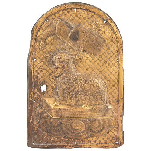 Puerta de sagrario  México, principios del SXIX Relieve en bronce. 43 x 29 cm