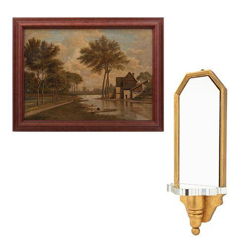 Lote mixto de 2 piezas. SXX. Consta de Peana con espejo. Elaborada en madera dorada y ANÓNIMO. Paisaje. Óleo sobre tela.