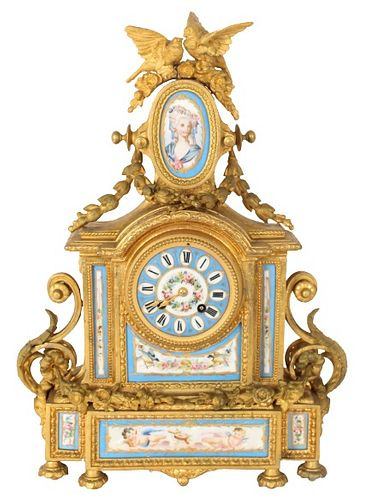 Antique French Gilt Ormulu & Sevres Mantle Clock