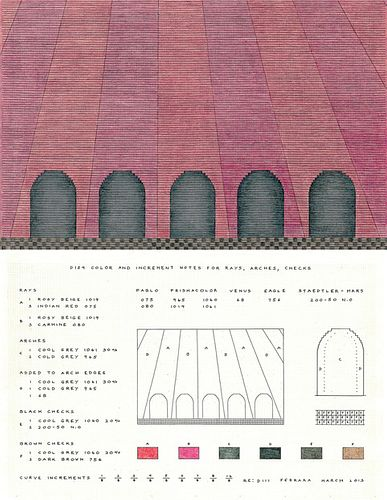 """Jackie Ferrara, """"D111 Rays, Arches, Checks + D129 Notes for D111 Rays, Arches, Checks"""", 2008-2013"""
