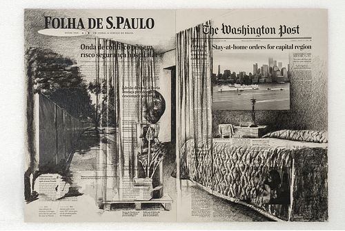"""Tatiana Trouvé, """"April 10th, 'Folha de S.Paulo', Brazil; March 31st, 'The Washington Post', USA, from the series 'From March to May'"""", 2021"""