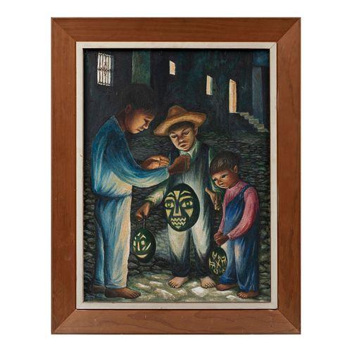 FANNY RABEL. Niños con calabaza. Con firma espuria. Óleo sobre masonite. 60 x 45 cm.