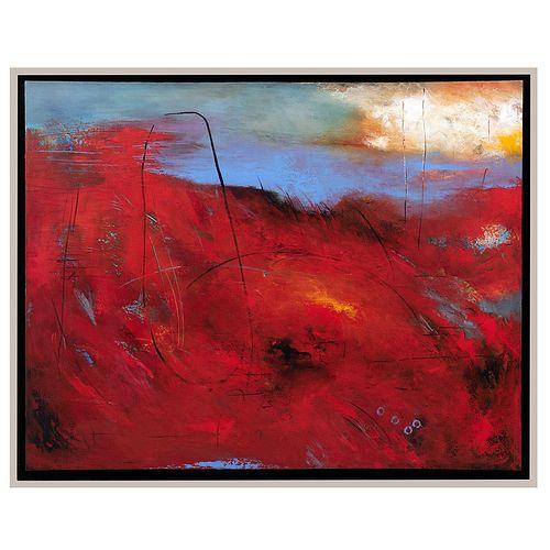 YOLANDA CANTÚ. Sol de la mañana. Firmada y fechada 2014. Mixta sobre tela. 140 x 109 cm