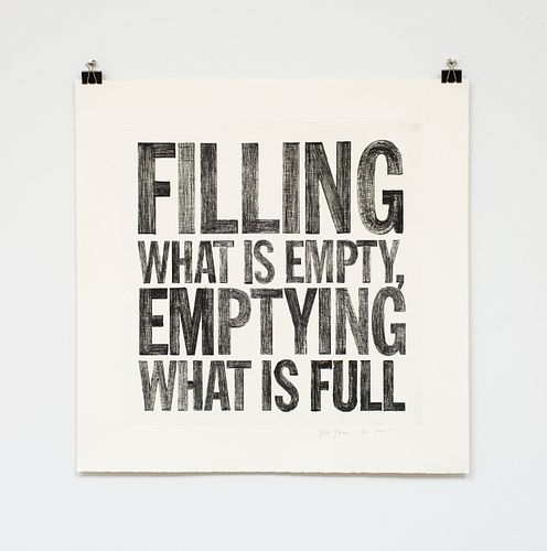 """John Giorno, """"FILLING WHAT IS EMPTY, EMPTYING WHAT IS FULL"""", 2005"""