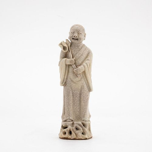 CHINESE GE WARE CRACKLE GLAZE STANDING FIGURE