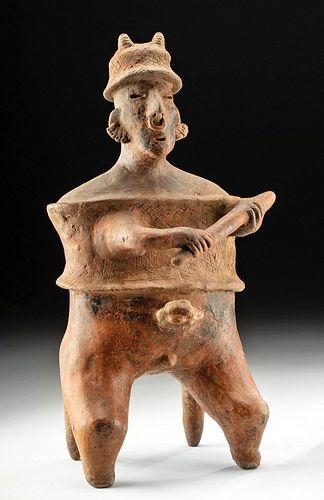 Huge Nayarit Pottery Seated Warrior Figure w/ Club
