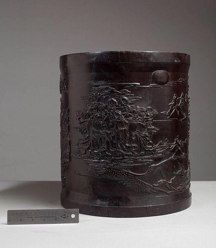 Monumental Zitan 'Immortals' Scroll Pot
