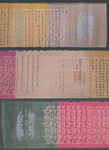 Imperial Style Edict on Five Color Silk Scroll