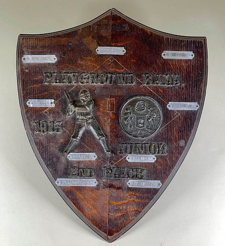 Playground Baseball 1913 Award Plaque