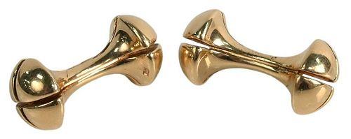 Pair of 14 Karat Gold and Barbell Cufflinks, 12.2 grams.