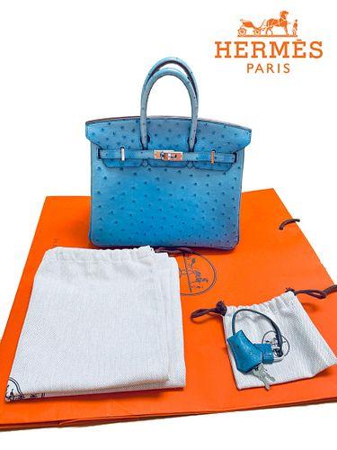 A Hermes Birkin 30 Blue Mykonos Ostrich Leather Bag