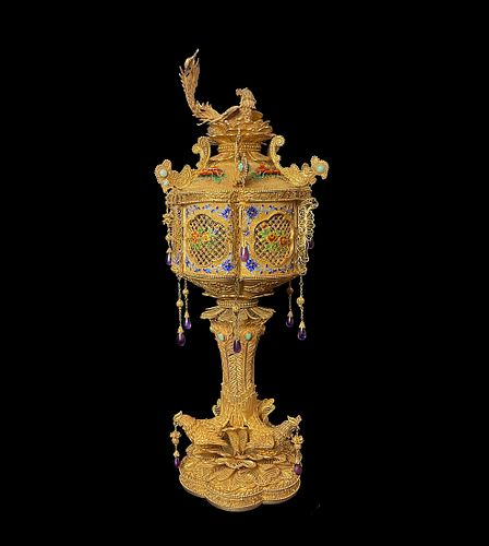 A Chinese Enameled & Jeweled Gilt Silver Filigree Urn