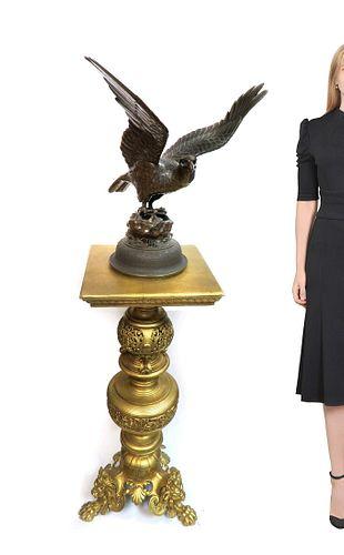 Japanese Patina-ted Bronze Eagle Figurine, Miji Period