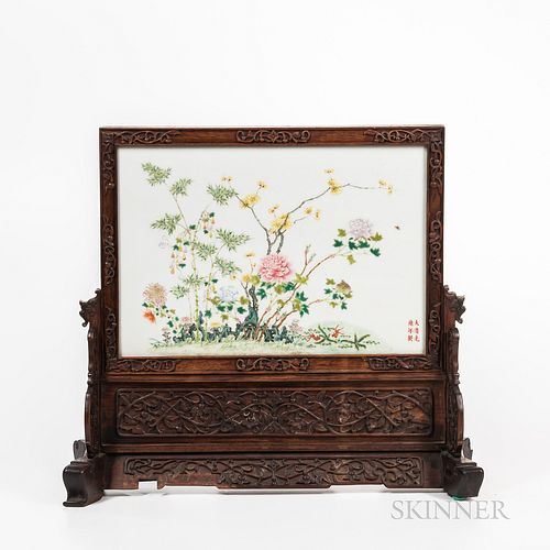 Famille Rose Plaque Mounted as a Table Screen