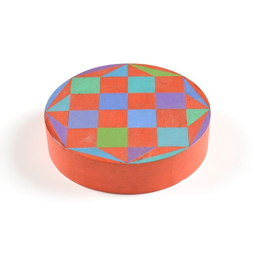 """SIBYL EDWARDS (Canadian b. 1944) A HARD EDGE GEOMETRIC SCULPTURE, """"Octagon with Checkerboard on a Red Ground,"""" 1973,"""