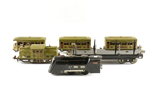 A GROUP OF SIX LIONEL AND MARX PASSENGER AND FREIGHT CARS, SECOND-QUARTER 20TH CENTURY,
