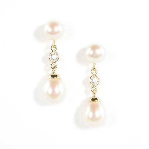 A PAIR OF TIFFANY & CO. 18K YELLOW GOLD, PEARL AND DIAMOND DROP EARRINGS, CIRCA 2005,