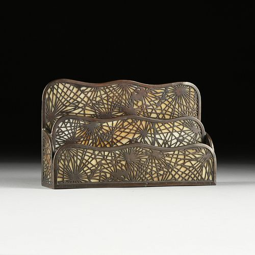 """A TIFFANY STUDIOS BRONZE AND STAINED GLASS """"PINE NEEDLES"""" LETTER HOLDER, STAMPED, 1900-1920,"""