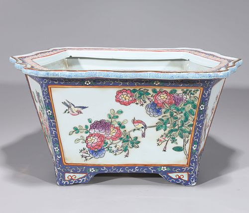 Pair of Chinese Enameled Porcelain Planters