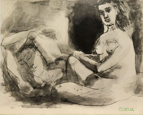 Pablo Picasso (After) - Homme Couche et Femme Assise