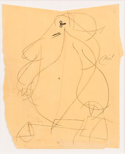 """JOAN MIRÓ (Barcelona, 1893 - Palma de Mallorca, 1983). """"Femme"""", 1977. Mixed media on paper. Metal and graphite. Attached certificate issued by Adom."""