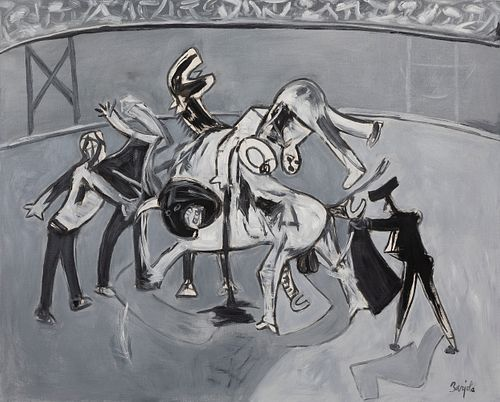 "JUAN BARJOLA (Torre de Miguel Sesmero, Badajoz, 1919 - Madrid, 2004). ""Bullfighting"". Oil on canvas. Signed in the lower right corner. Work verified b"