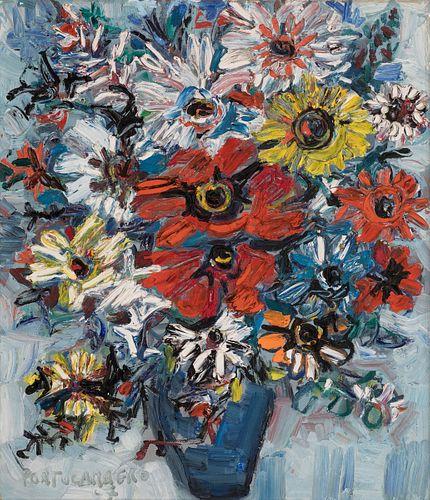 """RENÉ PORTOCARRERO (El Cerro, Cuba, 1912 - Havana, Cuba, 1985). """"Flower vase"""", 1967. Oil on canvas. Attached certificate issued by the Cuban Art Founda"""