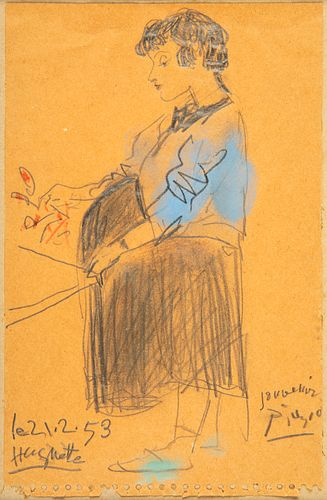 """PABLO PICASSO (Malaga, 1881 - Mougins, France, 1973). """"Portrait of Huguette"""", 21.2.1953. Drawing in pencil, colored pencils and pastel on notebook she"""