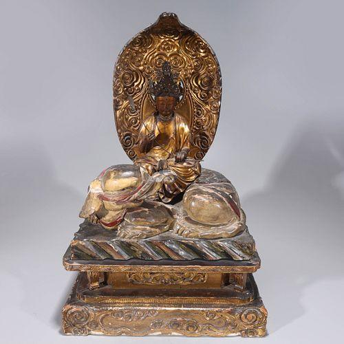 Large Edo Period Japanese Lacquer Seated Buddha