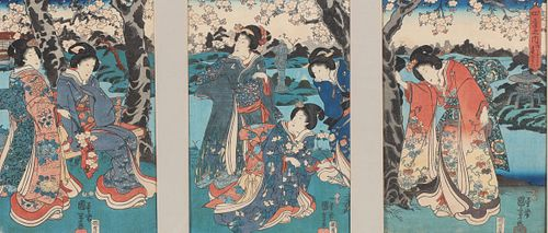 Antique Japanese Wood Block Triptych