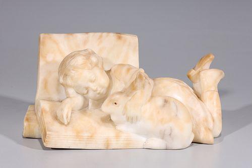 Goldscheider Of Vienna Marble Child Statue