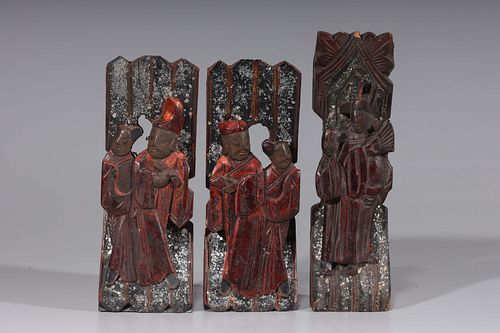 Group Of Three Antique Chinese Wood Carvings