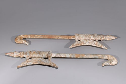Pair of Chinese Carved Hardstone Weapons