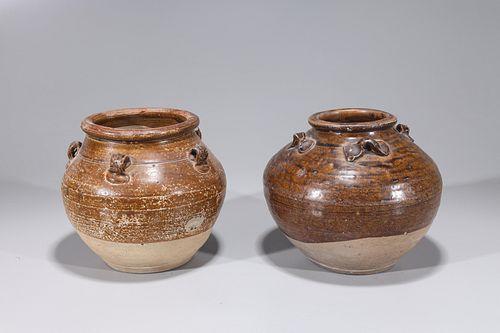 Two Chinese Yuan Dyansty Glazed Jars