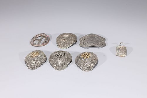 Group of Seven Probably Indian Metal Buckles