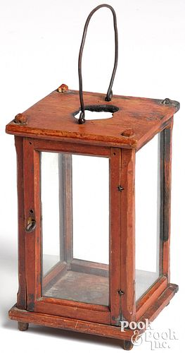 Painted pine carry lantern, early 19th c.