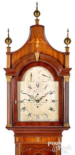 Rare New York Federal mahogany musical tall clock