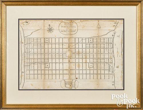 Scarce Thomas Holmes map of Philadelphia