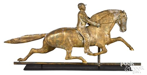 Molded Dexter horse and jockey copper weathervane