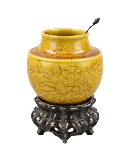 Chinese Yellow Glazed Waterpot ,Spoon,Base, 19th C